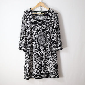 LOFT paisley bell sleeve tunic dress size M boho